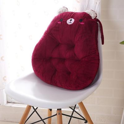 2020新品学开车水晶绒加厚保暖胖子垫办公椅靠垫餐椅垫小熊椅垫 宽42cm*高45cm厚6~7cm 小熊 红色