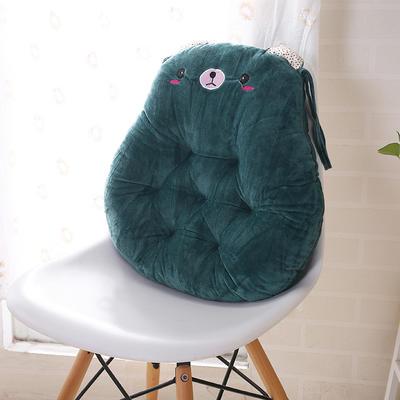 2020新品学开车水晶绒加厚保暖胖子垫办公椅靠垫餐椅垫小熊椅垫 宽42cm*高45cm厚6~7cm 小熊 墨绿