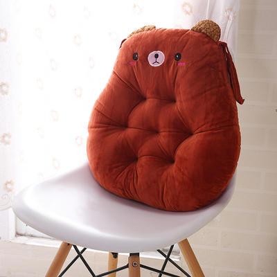 2020新品学开车水晶绒加厚保暖胖子垫办公椅靠垫餐椅垫小熊椅垫 宽42cm*高45cm厚6~7cm 小熊 驼色