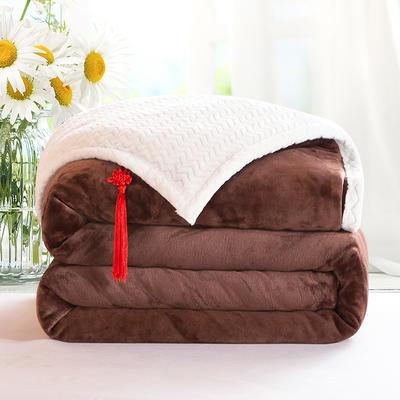 2020新款双层毛毯加厚珊瑚绒毯子宿舍保暖法兰绒礼品毯贝贝绒毯单双人盖毯 100*130cm 温情咖