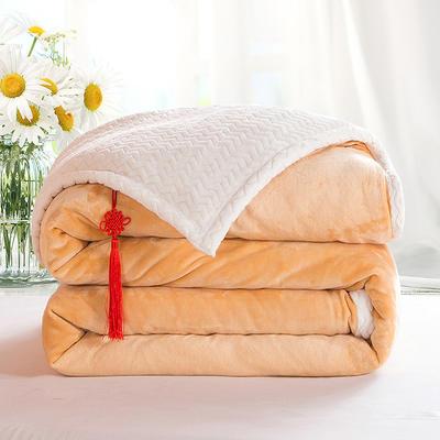 2020新款双层毛毯加厚珊瑚绒毯子宿舍保暖法兰绒礼品毯贝贝绒毯单双人盖毯 100*130cm 奥丁金