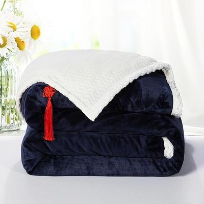 2020新款双层毛毯加厚珊瑚绒毯子宿舍保暖法兰绒礼品毯贝贝绒毯单双人盖毯 100*130cm 宝石蓝