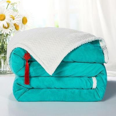 2020新款双层毛毯加厚珊瑚绒毯子宿舍保暖法兰绒礼品毯贝贝绒毯单双人盖毯 100*130cm 翡翠绿