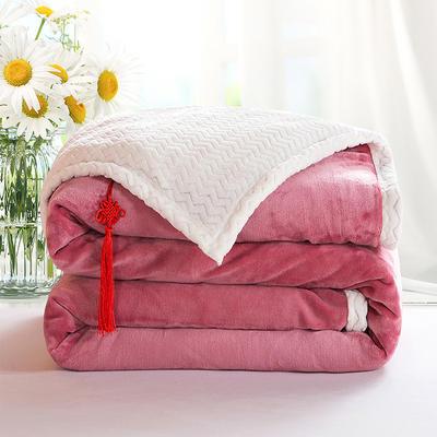 2020新款双层毛毯加厚珊瑚绒毯子宿舍保暖法兰绒礼品毯贝贝绒毯单双人盖毯 100*130cm 红豆沙