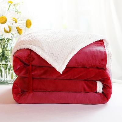 2020新款双层毛毯加厚珊瑚绒毯子宿舍保暖法兰绒礼品毯贝贝绒毯单双人盖毯 100*130cm 玫瑰红