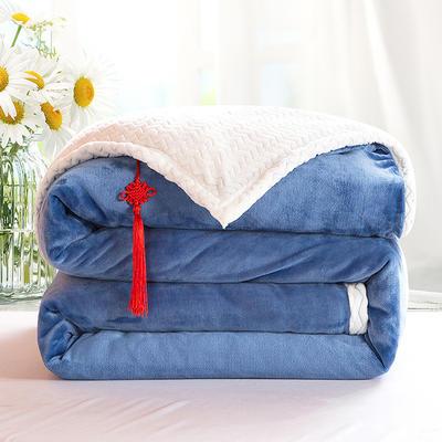2020新款双层毛毯加厚珊瑚绒毯子宿舍保暖法兰绒礼品毯贝贝绒毯单双人盖毯 100*130cm 天空蓝