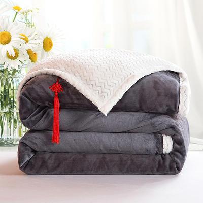 2020新款双层毛毯加厚珊瑚绒毯子宿舍保暖法兰绒礼品毯贝贝绒毯单双人盖毯 100*130cm 远山灰