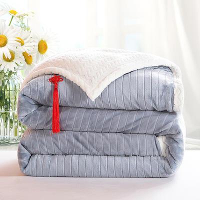 2020新款双层毛毯加厚珊瑚绒毯子宿舍保暖法兰绒礼品毯贝贝绒毯单双人盖毯 100*130cm 珍珠灰