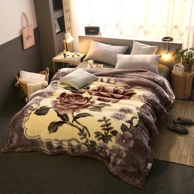 拉舍尔毛毯加厚双层被子单人双人珊瑚绒毯秋冬季床单学生婚庆盖毯 150x200cm重1.7kg 210灰色