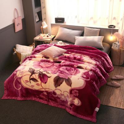 拉舍尔毛毯加厚双层被子单人双人珊瑚绒毯秋冬季床单学生婚庆盖毯 150x200cm重1.7kg 240橡皮红