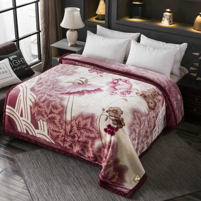 拉舍尔毛毯加厚双层被子单人双人珊瑚绒毯秋冬季床单学生婚庆盖毯 150x200cm重1.7kg 1293豆沙