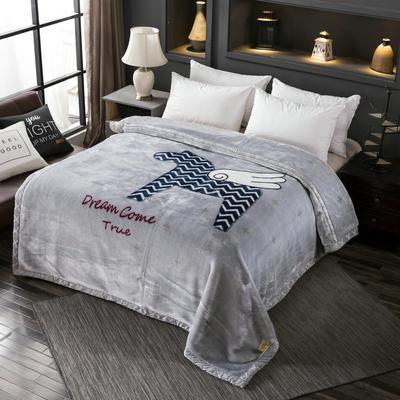 拉舍尔毛毯加厚双层被子单人双人珊瑚绒毯秋冬季床单学生婚庆盖毯 100x125cm重0.7kg 飞马