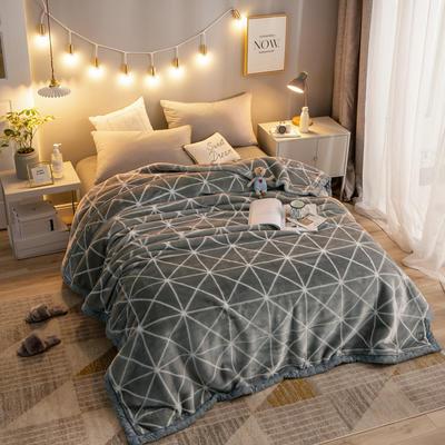 拉舍尔毛毯加厚双层被子单人双人珊瑚绒毯秋冬季床单学生婚庆盖毯 150x200cm重1.7kg 灰菱格