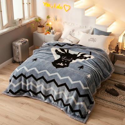 拉舍尔毛毯加厚双层被子单人双人珊瑚绒毯秋冬季床单学生婚庆盖毯 150x200cm重1.7kg 鹿与森