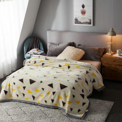 拉舍尔毛毯加厚双层被子单人双人珊瑚绒毯秋冬季床单学生婚庆盖毯 150x200cm重1.7kg 米三角