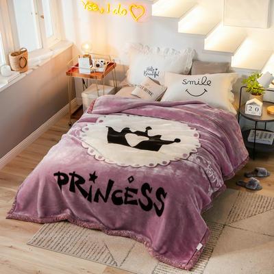 拉舍尔毛毯加厚双层被子单人双人珊瑚绒毯秋冬季床单学生婚庆盖毯 150x200cm重1.7kg 女王