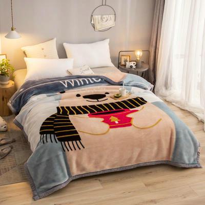 拉舍尔毛毯加厚双层被子单人双人珊瑚绒毯秋冬季床单学生婚庆盖毯 150x200cm重1.7kg 胖熊先生