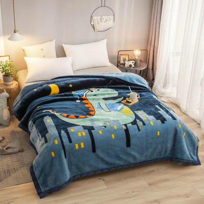 拉舍尔毛毯加厚双层被子单人双人珊瑚绒毯秋冬季床单学生婚庆盖毯 150x200cm重1.7kg 晚安世界