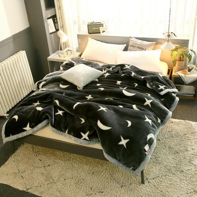 拉舍尔毛毯加厚双层被子单人双人珊瑚绒毯秋冬季床单学生婚庆盖毯 150x200cm重1.7kg 星空