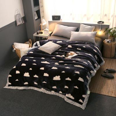 拉舍尔毛毯加厚双层被子单人双人珊瑚绒毯秋冬季床单学生婚庆盖毯 150x200cm重1.7kg 云朵