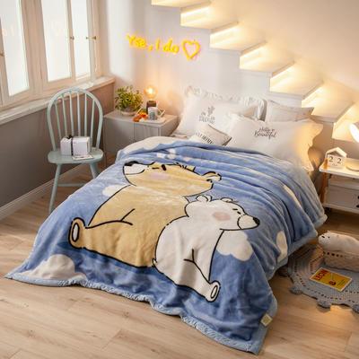 拉舍尔毛毯加厚双层被子单人双人珊瑚绒毯秋冬季床单学生婚庆盖毯 150x200cm重1.7kg 云朵熊