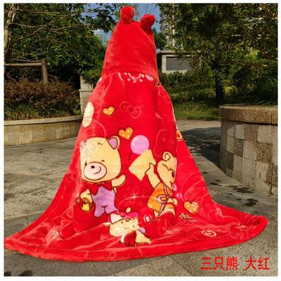 拉舍尔毛毯婴儿披风斗篷秋冬款加厚保暖新生婴幼儿童男女宝宝披肩 含帽高110cm宽95cm 三只熊 红