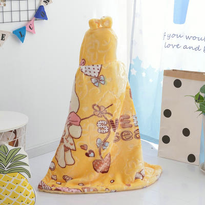 拉舍尔毛毯婴儿披风斗篷秋冬款加厚保暖新生婴幼儿童男女宝宝披肩 含帽高110cm宽95cm 钓鱼猫 黄色