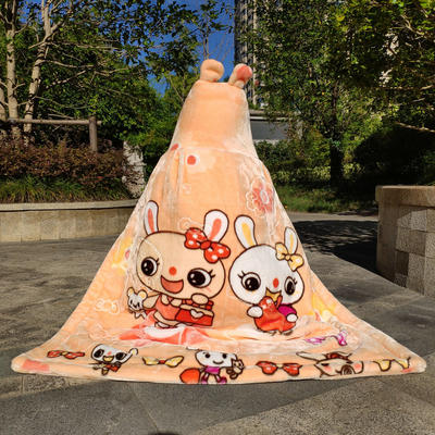 拉舍尔毛毯婴儿披风斗篷秋冬款加厚保暖新生婴幼儿童男女宝宝披肩 含帽高110cm宽95cm 两只兔 玉色