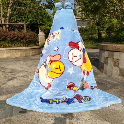 拉舍尔毛毯婴儿披风斗篷秋冬款加厚保暖新生婴幼儿童男女宝宝披肩 含帽高110cm宽95cm 两只羊 蓝色