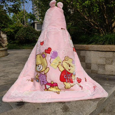 拉舍尔毛毯婴儿披风斗篷秋冬款加厚保暖新生婴幼儿童男女宝宝披肩 含帽高110cm宽95cm 三只熊 粉色