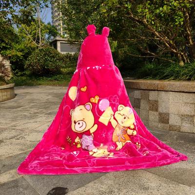 拉舍尔毛毯婴儿披风斗篷秋冬款加厚保暖新生婴幼儿童男女宝宝披肩 含帽高110cm宽95cm 三只熊  玫红