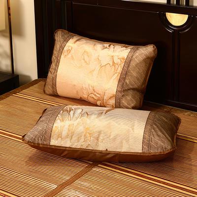 2021新品夏季凉席枕套成人藤枕芯套单人冰丝枕头套夏天凉爽竹枕席一对 45×72cm/对 冰丝圆枕套