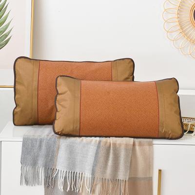 2021新品夏季凉席枕套成人藤枕芯套单人冰丝枕头套夏天凉爽竹枕席一对 45×72cm/对 红藤枕套