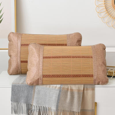 2021新品夏季凉席枕套成人藤枕芯套单人冰丝枕头套夏天凉爽竹枕席一对 45×72cm/对 金砖竹枕套