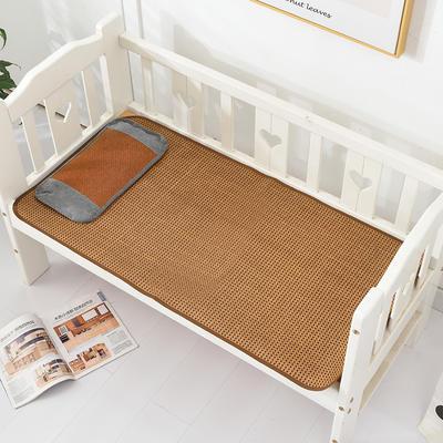 2021新款可定做婴儿凉席夏季儿童双面竹藤席幼儿园午睡席子宝宝可水洗冰丝席 60x135cm 古藤童席