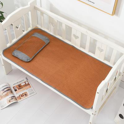 2021新款可定做婴儿凉席夏季儿童双面竹藤席幼儿园午睡席子宝宝可水洗冰丝席 60x135cm 红藤童席
