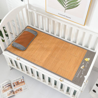 2021新款可定做婴儿凉席夏季儿童双面竹藤席幼儿园午睡席子宝宝可水洗冰丝席 60x135cm 竹藤双面童席