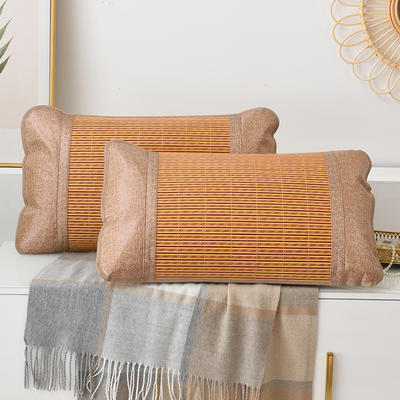 2021丹兰家夏季凉席枕套成人藤枕芯套单人冰丝枕头套夏天凉爽竹枕席子 45x72cm 木纹竹枕套一只