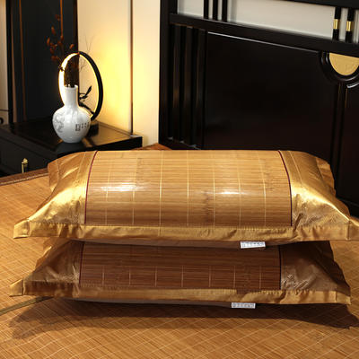 2021丹兰家夏季凉席枕套成人藤枕芯套单人冰丝枕头套夏天凉爽竹枕席子 48×74cm 碳化竹方枕套一只