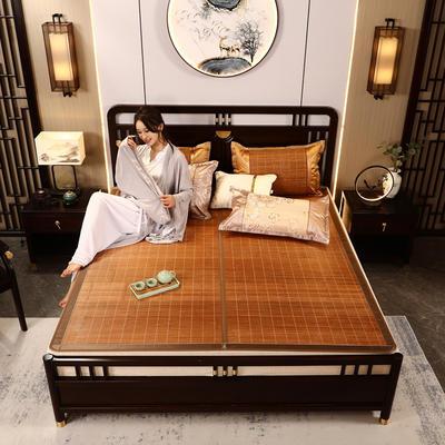 2米竹席蔺草凉席1.8m床折叠双面藤席子夏季1.5米草席单人1.2冰丝席 80×190cm 海港之夜