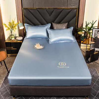 2021新品可水洗1.8床笠款冰丝席2米纯色冰丝席子床罩凉席三件套席梦思保护套 0.9m床笠两件套 冰晶蓝
