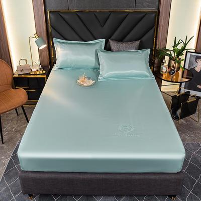 2021新品可水洗1.8床笠款冰丝席2米纯色冰丝席子床罩凉席三件套席梦思保护套 1.5m床笠三件套 翠清竹