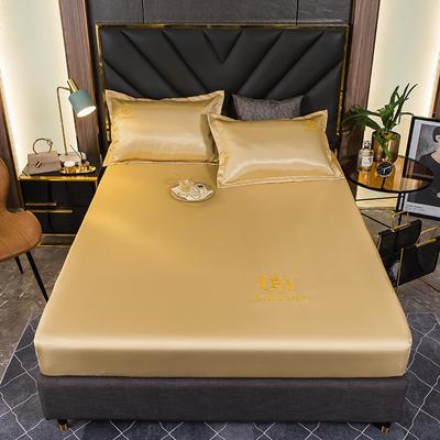 2021新品可水洗1.8床笠款冰丝席2米纯色冰丝席子床罩凉席三件套席梦思保护套 1.5m床笠三件套 轻奢金