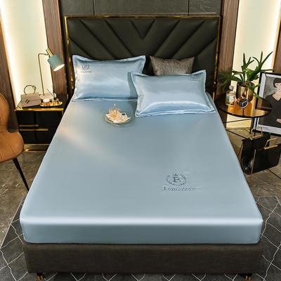 2021新品可水洗1.8床笠款冰丝席2米纯色冰丝席子床罩凉席三件套席梦思保护套 1.2m床笠两件套 清新蓝