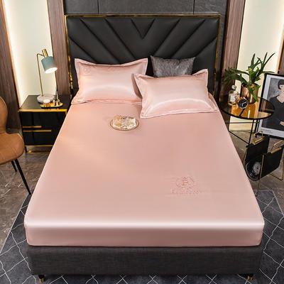 2021新品可水洗1.8床笠款冰丝席2米纯色冰丝席子床罩凉席三件套席梦思保护套 1.5m床笠三件套 胭羽粉