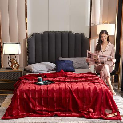 2021新款加厚双层拉舍尔毛毯双人云毯仿毛皮盖毯婚庆毯保暖法兰绒毯子 150*200cm±5cm 酒红