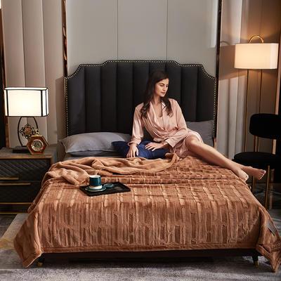 2021新款加厚双层拉舍尔毛毯双人云毯仿毛皮盖毯婚庆毯保暖法兰绒毯子 150*200cm±5cm 咖啡色