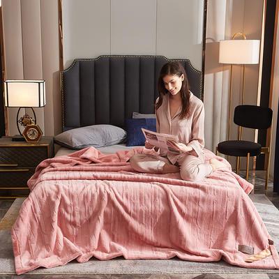 2021新款加厚双层拉舍尔毛毯双人云毯仿毛皮盖毯婚庆毯保暖法兰绒毯子 150*200cm±5cm 浅粉
