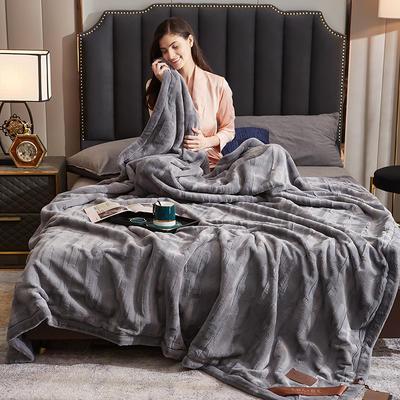 2021新款加厚双层拉舍尔毛毯双人云毯仿毛皮盖毯婚庆毯保暖法兰绒毯子 150*200cm±5cm 浅灰