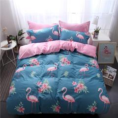 棉加绒系列四件套 1.2m(4英尺)床 火烈鸟